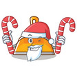 santa with candy dustpan character cartoon style vector image vector image