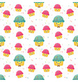 seamless pattern cute cupcakes vector image vector image