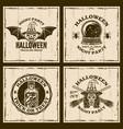 set halloween emblems in vintage style vector image