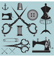 set of items and equipment to topics tailor clothi vector image vector image