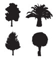 set with four silhouette trees vector image vector image