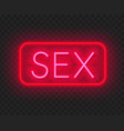 sex neon retro sign on transparent background vector image vector image
