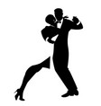 silhouettes of elegant couple dancing romantic vector image vector image