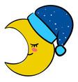 sleeping yellow moon on white background vector image vector image