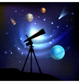Space Background With Telescope vector image vector image
