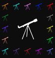 Telescope icon sign Lots of colorful symbols for vector image