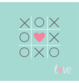 Tic tac toe game with cross and heart sign Love vector image vector image