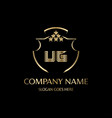 ug letter initial with royal luxury logo template vector image vector image
