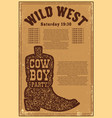 wild west party poster template with cowboy boot vector image vector image
