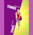woman tennis poster colored for designers vector image vector image