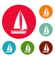 yacht travel icons circle set vector image