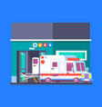 hospital building with ambulance urban background vector image