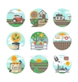 Farming flat color icons set vector image