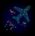 2d mesh flying air liner with glowing spots vector image