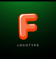 3d playful letter f kids and joy style symbol vector image vector image