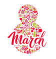 8 March card of icons vector image vector image