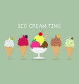 a set of five different sweet ice cream on a vector image vector image