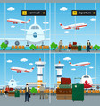 air travelers with luggage bags at the airport vector image vector image