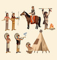 american indians icons set vector image vector image