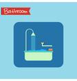Bathroom interior icon Sponge and foam in the bath vector image