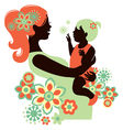 Beautiful mother silhouette with baby vector image vector image