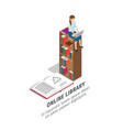 big online library promotional poster with books vector image