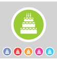 birthday cake flat icon sign symbol logo label set vector image vector image