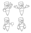 Black and white sad cartoon pencils set vector image vector image