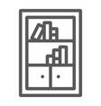 bookshelf line icon furniture and shelf vector image