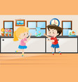 boy and girl standing in class vector image vector image