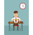 Businessman eating fast food in office cafeteria vector image
