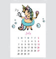 calendar 2019 with cute unicornhand drawn magic vector image vector image
