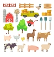 Cartoon farm elements animals building tools vector image