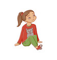 cartoon girl sitting listening attentively vector image vector image