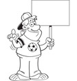 Cartoon soccer fan holding a sign vector image