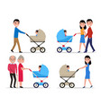 characters parents with a stroller a child vector image