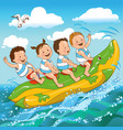 children and the sea vector image