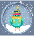christmas card with cute dressed bird vector image vector image