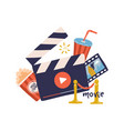 cinema movie print concept template with clapper vector image vector image