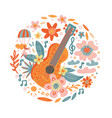 circle composition flowers entwined guitar vector image vector image