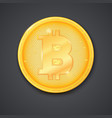 coin of virtual currency bitcoin with shadow icon vector image vector image