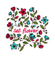 collection hand drawn flowers vector image