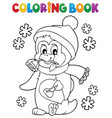 coloring book happy valentine penguin 1 vector image vector image