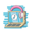 computer and headphones to listen music vector image vector image