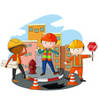 Construction workers at the construction site vector image vector image