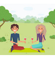 couple sitting on grass and drinking wine vector image vector image