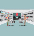 customer shopping at electronic department store vector image vector image