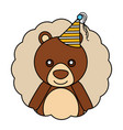 cute bear kawaii party hat vector image