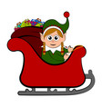 cute elf on a christmas sledge vector image vector image
