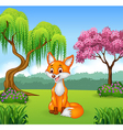 Cute fox sitting in the jungle vector image